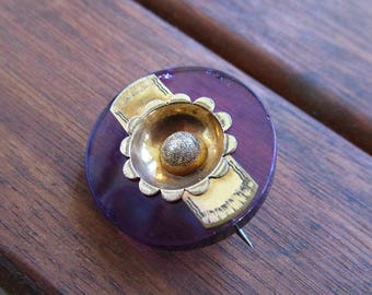 Small Antique Victorian Purple Glass Brooch - Glass Is Chipped - Sunflower - For wear or Project - Selling As Is - 1860s