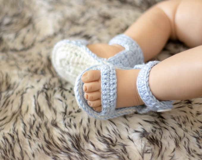 Ready to ship - Crochet Baby Sandals - Newborn shoes - Baby boy sandals - Crochet Baby shoes - Summer baby shoes- Baby shoes- Baby boy shoes