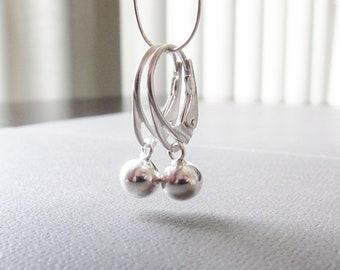 Ball Drop Earrings, Sterling Silver, Modern Metal, Modern Jewelry, Short Dangle Earrings, Silver Earrings