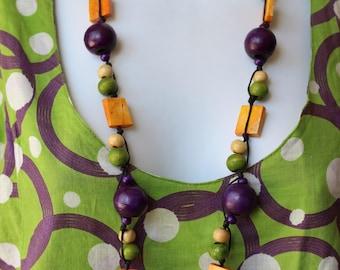 Woods of mango and bone craft Bali ethnic necklace