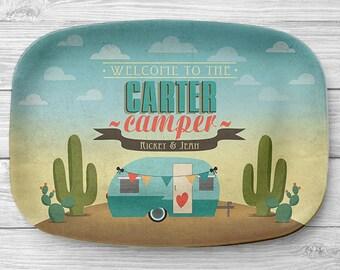 Personalized Trailer Platter, Personalized Melamine Desert RV Travel Trailer Serving Platter, Beach Camping Platter, Camper Decor, RV Decor