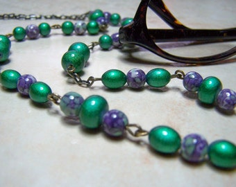 Green and Purple Chain for Glasses 26 inch Light Weight One of a Kind Eyeglass Chain