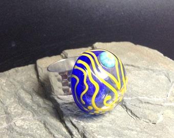 Handmade Lampwork Glass Ring - funky