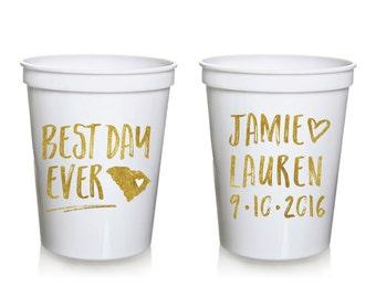 Best Day Ever Wedding Stadium Cups, Personalized Wedding Cups, Rehersal Dinner, Stadium Cup, Wedding Favor