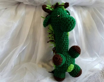 Dark Green Giraffe, photo prop, baby toy, handmade, crochet giraffe, baby shower gift, kid birthday, home decor, amigurumi, ready to ship,