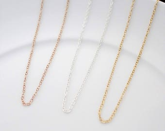 Simple Chain Necklace, Chain Only Necklace, Sterling Silver Chain, 14k Gold Filled Chain, Silver Chain Necklace, Gold Chain Necklace