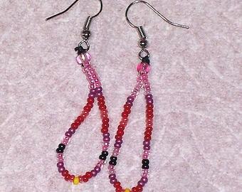 Native American Beaded Pink & Red Teardrop Earrings
