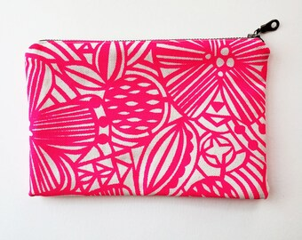 Zippered Pouch: Organic Screenprinted Fabric in Pink