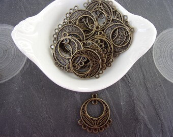Antiqued Bronze Circle Charms Pendants Links Connector