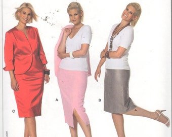Burda 7665, Sz 18-34/EUR 44-60.  Plus Size Pencil Skirt/Fitted Skirt in 2 lengths, UNCUT pattern with directions in English/French/Spanish.