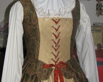 Renaissance Green/Brown/Rust Merchant Dress adjustable size 10-12