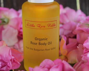 Organic Rose Body Oil with Pure Organic Rose Essential Oil Rosa damascena
