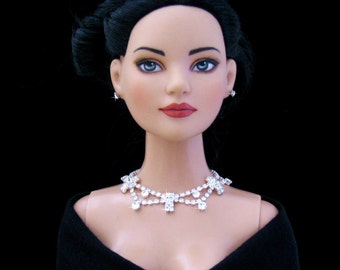 """Rhinestone Doll jewelry for Tonner American Model, BJD,  and other 22"""" fashion dolls by SohoDolls, necklace and earrings"""