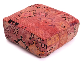 Moroccan Pouf, Floor Cushion, Berber Kilim Pouf Ottoman, Floor Pillow, Foot Stool, Refashioned from a Vintage Berber Rug. PVR016