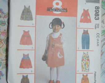 McCalls 8983 Toddlers Jumper and  Jumpsuit with optional snap crotch Sewing Pattern - UNCUT - Size 2  3 4