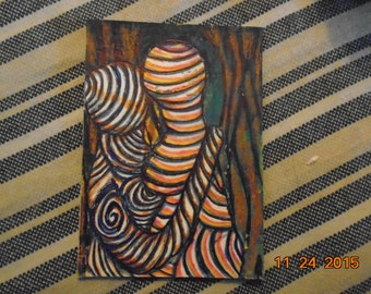 Original Artist Trading Card Goddess and God Love Eternal Psychedelic Drawing Colored Pencil and Pen