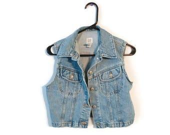 GAP Jean Jacket Vest Sz S 100% Cotton Distressed