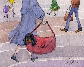 Dachshund dog 8x10 art print Susan Alison watercolor painting Weiner Doxie sausage dog dachs dachsie carrying bag always together black tan