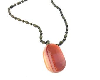 Pendant Necklace, Terra Cotta, Orange, Bronze Chain, Art Glass Jewelry