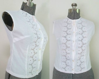 1950s 1960s Cotton Batiste Blouse // Swiss Quality Sleeveless Button Front Top