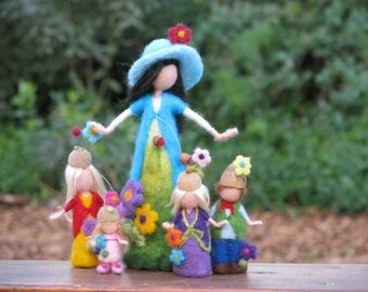 Needle felted waldorf inspired mother with children