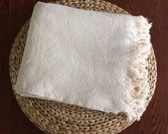 woven textured natural throw blanket / beach blanket / campfires / cabin