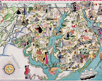 30's MARYLAND and DELAWARE Picture Map Pictorial State Cartoon Map Print Gallery Wall Art Gift for Map Collector Traveler Vacation Wedding