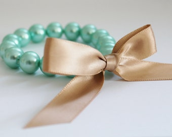 Turquoise Pearl and Champagne Ribbon Bracelet