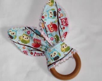 Happy Flappers Rabbit Ears Wooden Teething Ring