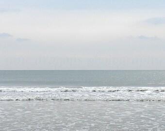 Pale Blue Beach Photography, Minimalist Beach Print, Nature Photography, Pastel Ocean Art, Beach Wall Art, Jersey Shore Grey Ocean Print