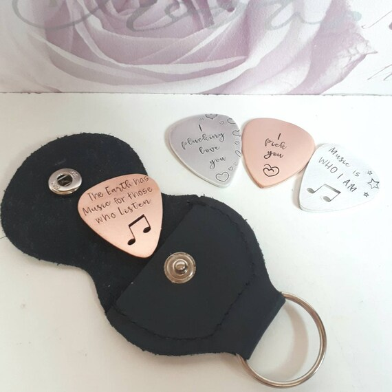Personalised plectrum pick, handstamped custom keychain, musical themed gift, keyring for music lovers