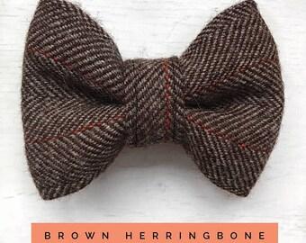 Brown & Orange Herringbone Tweed Dog Bow Tie