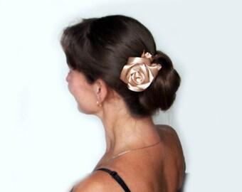 Brown hair flower / Beige hair rose / Silk rose hair clip  Brown rose hair comb  Beige hair flower  Beige rose hair clip  Fabric hair flower