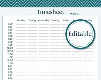 Business Timesheet - Fillable - Business Planner - Printable Organizational PDF - Instant Download