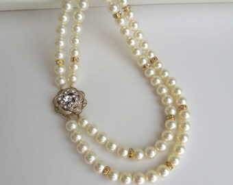 Pearl Necklace Bridal Pearl Necklace Bridal Rhinestone Necklace Ivory Pearls Wedding Pearl gold Necklace Swarovski Bridal Necklace ROSELANI
