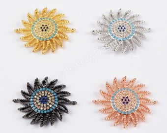 CZ Connector,Micro Pave Connector,Sun Flower Connector,Cubic Zirconia,Jewlery supplies,Beads Charms,Jewelry making,WX658