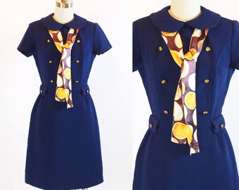 "Vintage 1960s Mod Op Dress | Glenbrooke Jr | 26"" Waist"