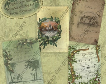Instant Download Digital Collage Sheet Card or Gift Tag Set - Christmas, Songs of Christmas