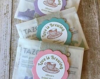 """8 ~ Bridal Shower Favors, Bridal Shower Tea Bag Favors, """"Love is Brewing"""" Bridal Shower Favors, Glassine Bags"""