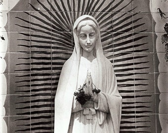 Virgin Mary Niche black and white san diego photo religious mexican mission style historical