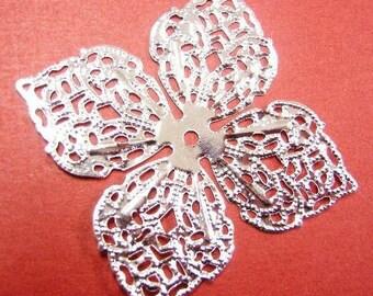 6pc 43mm silver finish filigree flower wraps-4261