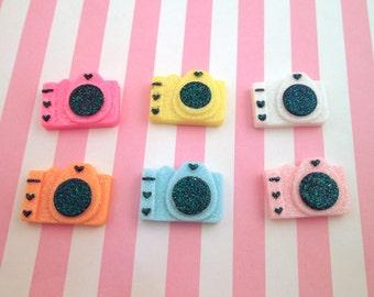 Glitter Camera Cabochons Resin Camera, Cute Bling Cabs, #533A