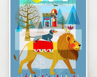 Mr Lion and friends, print