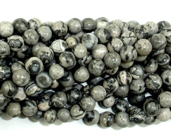 Gray Picture Jasper Beads, Round, 4mm (4.5mm), 15.5 Inch, Full strand, Approx 87 beads, Hole 0.8 mm (141054002)