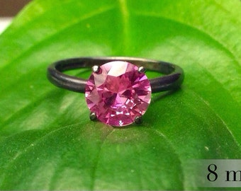 Stacking Ring with Pink Tourmaline in Sterling Silver, Blackened Silver Tourmaline Ring, Bridesmaids Gifts, October Birthstone