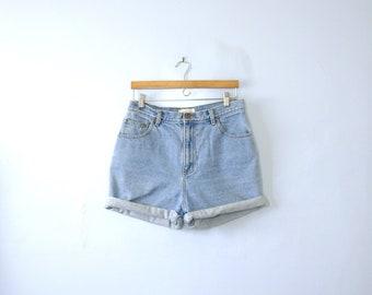 Vintage 90's high waisted shorts, light denim shorts, size 14 / 12