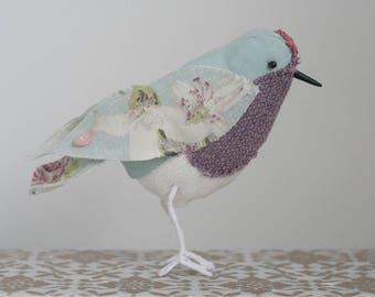 Soft Sculpture Fabric Floral Bird