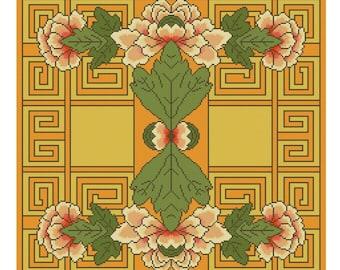 Asian Chrysanthemum Cross Stitch pattern PDF