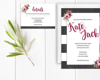 The Kate Wedding Invitation Suite, Bold Wedding Invitations, Black and Pink Wedding Invitations