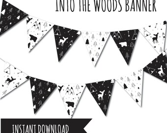 Animal Party, Animal Banner, Party Banner, Animal Birthday, Forest Animal Banner, Bunting, Printable Banner, Black and White Banner